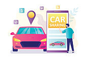 Smartphone with carsharing application. Handsome man client use mobile phone. Vehicle with location sign. Online rental or sharing service.
