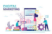 Digital marketing landing page. Business team analyzes mobile traffic. Advertising and sales through social networks. Teamwork,