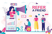 Refer a friend concept banner. Friend Sharing Referral Code. Businesswoman use megaphone and mobile phone.
