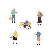 Set of elderly people. Collection of aged female characters in variation poses. Cartoon grandmother persons isolated