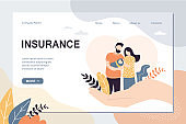 Insurance and healthcare landing page template. Big hands covering tiny people with newborn baby.