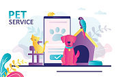Animals sitting near mobile phone. Concept of pet service online and animal e-store. Bringing puppy to grooming, veterinary service
