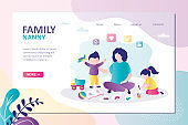 Nanny playing with children in toys. Mother sitting with son and daughter. Female character taking care of kids. Landing page template