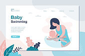 Baby swimming landing page template. Little infant child swimmer in the swimming pool, kids physical activity.