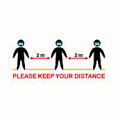 Please keep your distance 2m. Social distancing avoiding vector image. Keep your distance in public to prevent coronavirus pandemic. Preventive measures in quarantine times.