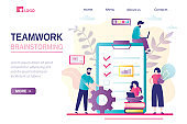 Teamwork, brainstorming landing page template. New project, office work. Job planner, various workers