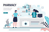Doctor pharmacist and patient in drugstore. Female character client buying medication in pharmacy. Healthcare and shopping concept.