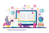 E-learning banner. Online education, home schooling. Modern workplace, open book on laptop screen.