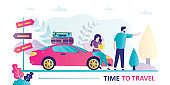 Couple of travelers, route planning, modern car with luggage. Navigation in trip, road signs. Vacation, travel time banner.