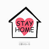 STAY HOME concept vector. Conceptual quarantine vector template.
