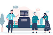 Airport security. X-ray luggage scanner. Checking baggage inside airport. Public safety concept.