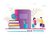 Schoolboy and schoolgirl holds backpacks. Stack of books,textbook and stationery. Concept of back to school. Education banner