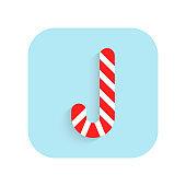 Caramel cane. Christmas flat icon and illustration on white background. Holiday symbol