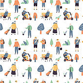 Seamless pattern with cool and fashion elderly people. Various old persons on white background.