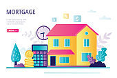 Landing page about home loan. Calculator, gold coins and construction. Mortgage concept, buying house and real estate