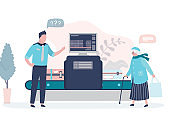 Airport security. X-ray luggage scanner. Checking baggage inside airport. Public transport safety concept.