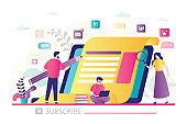 Blogging banner. Content development for online news, blogs and website, copywriting concept.