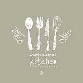 Inspirational kitchen. Illustration as a child's drawing a kitchen utensils with wings and a crown. Funny picture drawn by pencils.