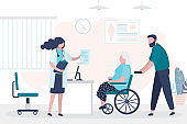 Medical consultation, woman doctor gives prescription to grandmother on wheelchair. Clinic room interior with furniture. Sick elderly person.