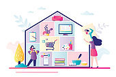 Home activities, entertainments and works. Family at home. House silhouette with rooms, people and household items