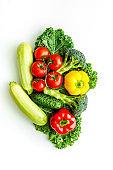 Background of vegetables. Fresh farm food - summer harvest, top view
