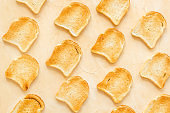 Pattern of toast bread slices. Layout of food, overhead view