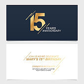 15 years anniversary invitation card vector illustration. Template design