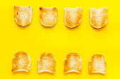 Food background layout with toast bread, top view