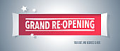 Grand opening or re opening vector background with window