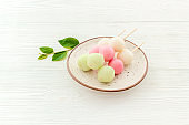 Asian cooking background - traditional sweets Dango, dumpling rice cake