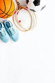 Frame of sport balls - football, basketball, badminton on white background