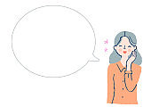 Smiling woman and speech bubble