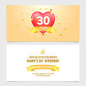 30 years anniversary invitation card vector illustration. Design template element