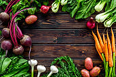 Healthy food. Vegetables - carrot, beet, potato - top view frame copy space