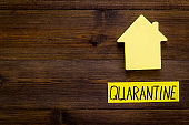 Quarantine stay at home - isolation, self-isolaton. House on wooden table top view copy space