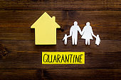 Quarantine stay at home - isolation, prevention. House and family on wooden table top view