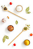 Asian and Indian spices and herbs in wooden spoons for cooking