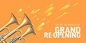 Grand opening or re-opening vector illustration, background with trumpets