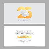 25 years anniversary invitation card vector illustration. Design template element