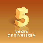 5 years anniversary vector icon. Square design element with 3D golden number