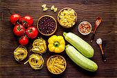 Healthy eating background with vegetables and herbs, top view