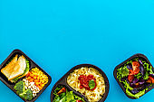 Overhead view of food delivery lunch boxes with meal
