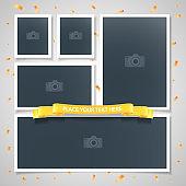 Collage of photo frames vector illustration, background