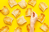 Slices of toast bread pattern. Food background. Top view