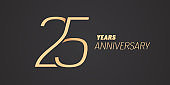 25 years anniversary vector icon. Graphic design element with gold color number