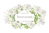 Wedding card with lily flowers. Invitation card template with white blooming lily and text. Congratulation card template for your holiday.