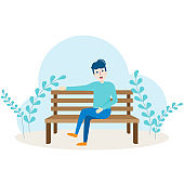 Young man character sitting and relaxing on bench in public park garden cartoon vector illustration.