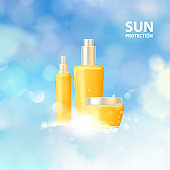 Collagen regenerates cream concept design. Bottles of cosmetic lotion and jar of cream. Women healthcare cosmetic in beautiful bottles over blue background.