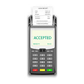 Credit card payment, POS terminal with pay receipt