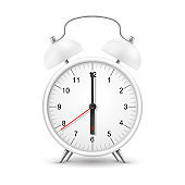Alarm clock, white realistic 3D with red arrow